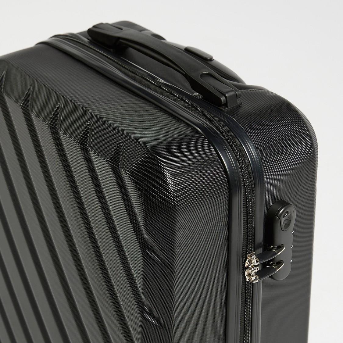 Textured Hard Suit Case Trolley Bag with Caster Wheels - 38x23x55 cms