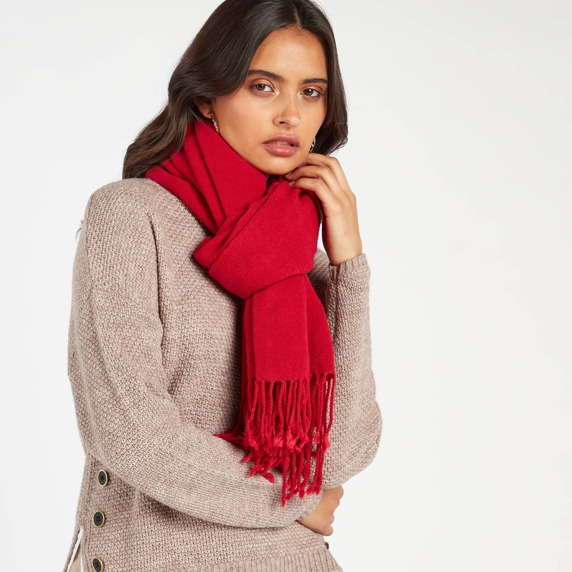Solid Scarf with Tassels