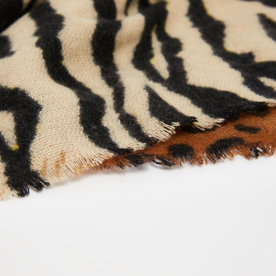 Animal Print Scarf with Fringe Detail