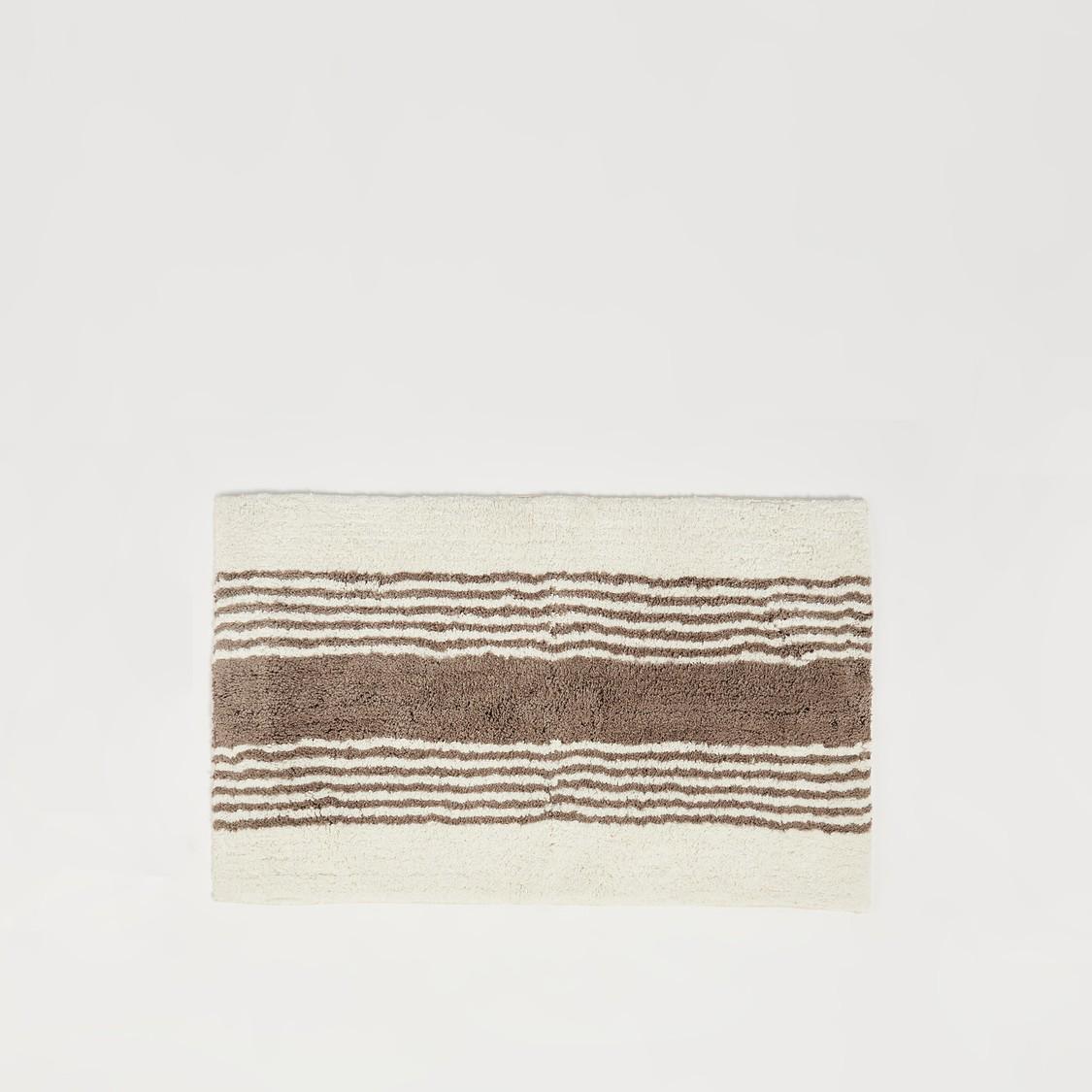 Striped Textured Bath Mat - 80x50 cms