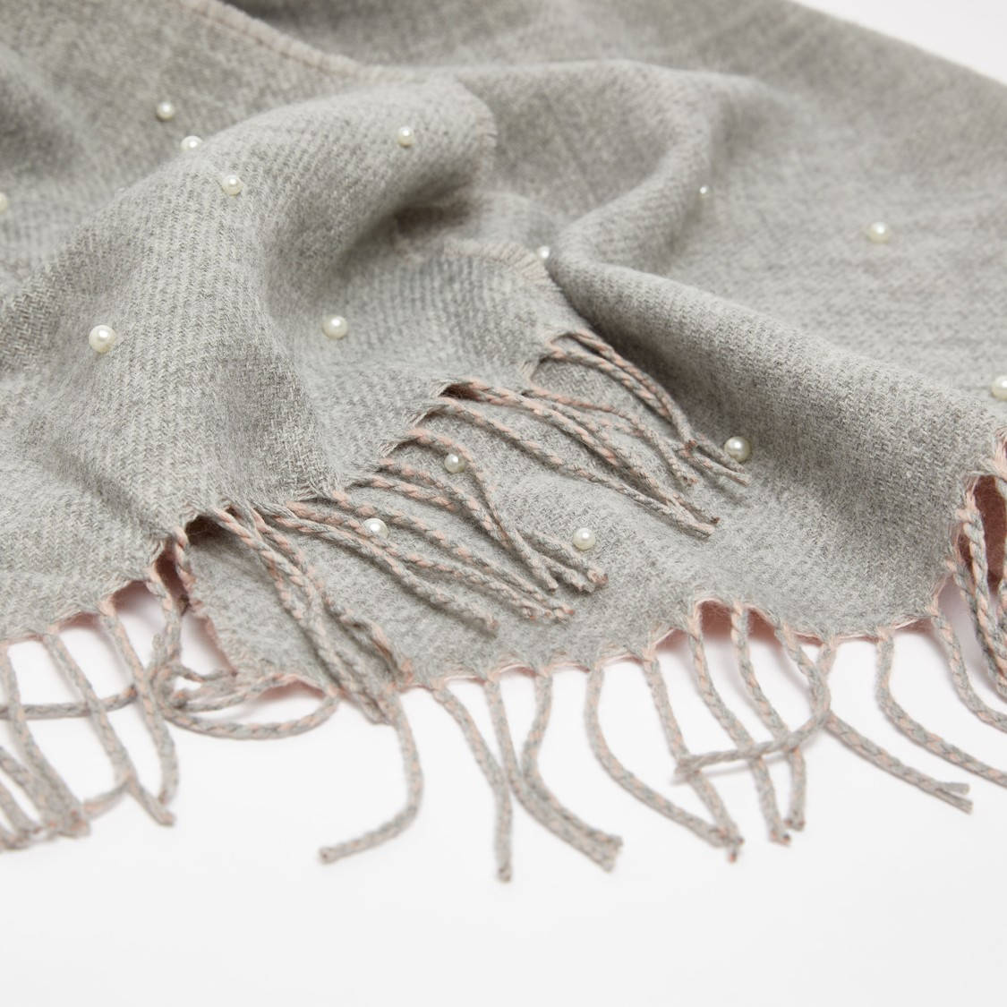 Textured Scarf with Pearl Embellishments and Tassel Detail