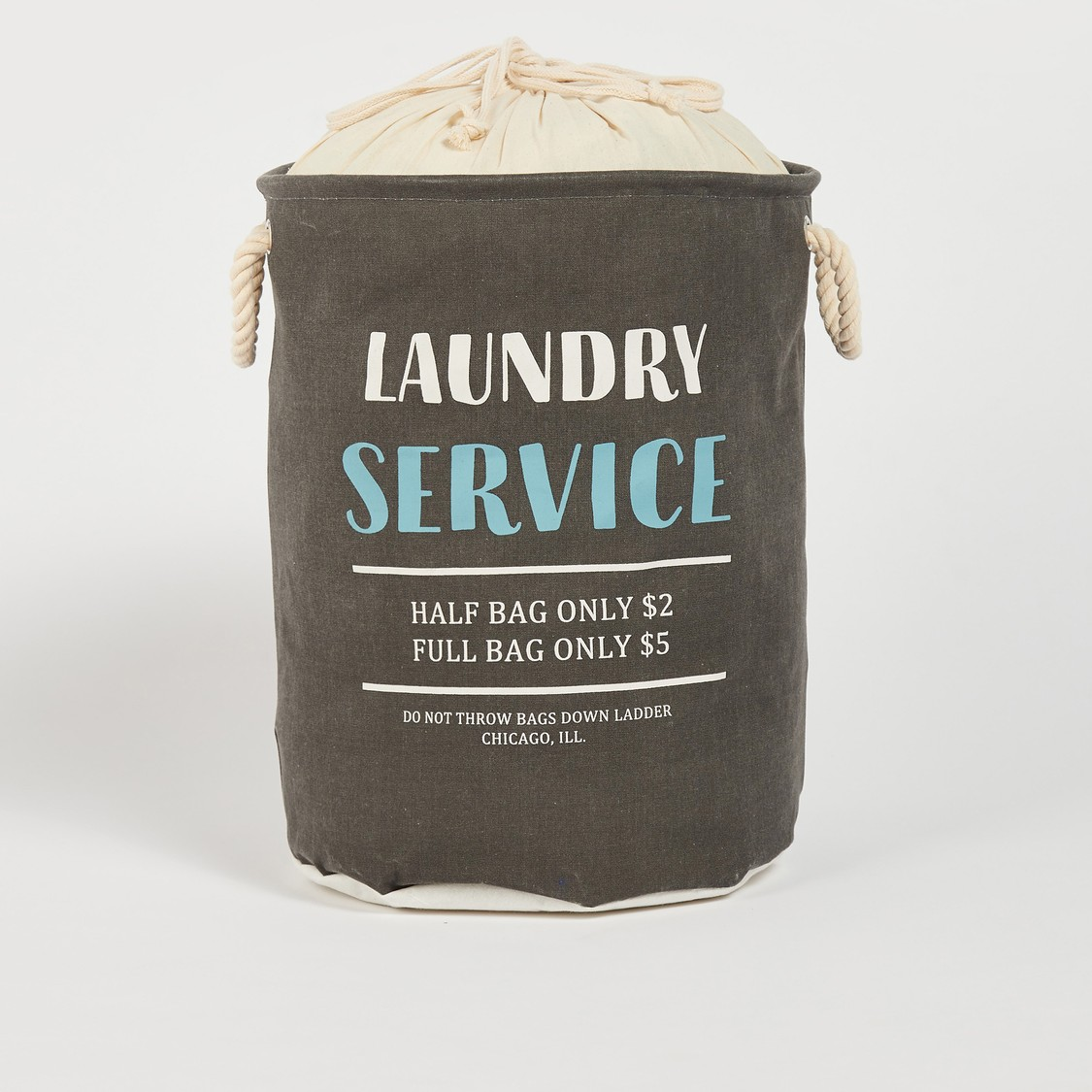 Text Print Laundry Basket with Twin Handle and Drawstring Closure - 49x38 cms