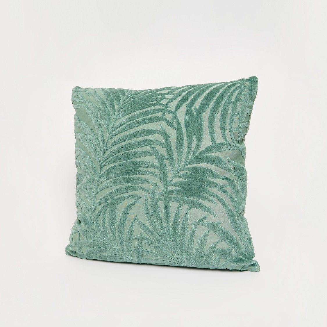 Leaf Embossed Square Filled Cushion with Zip Closure - 45x45 cms