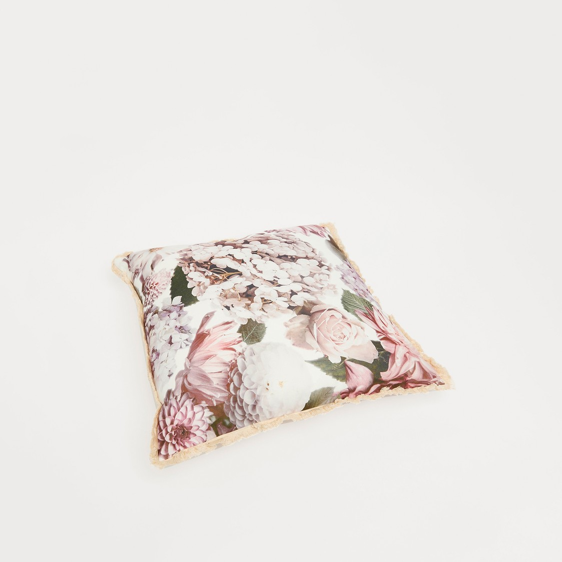 Floral Print Filled Cushion with Ruffle Detail - 45x45 cms