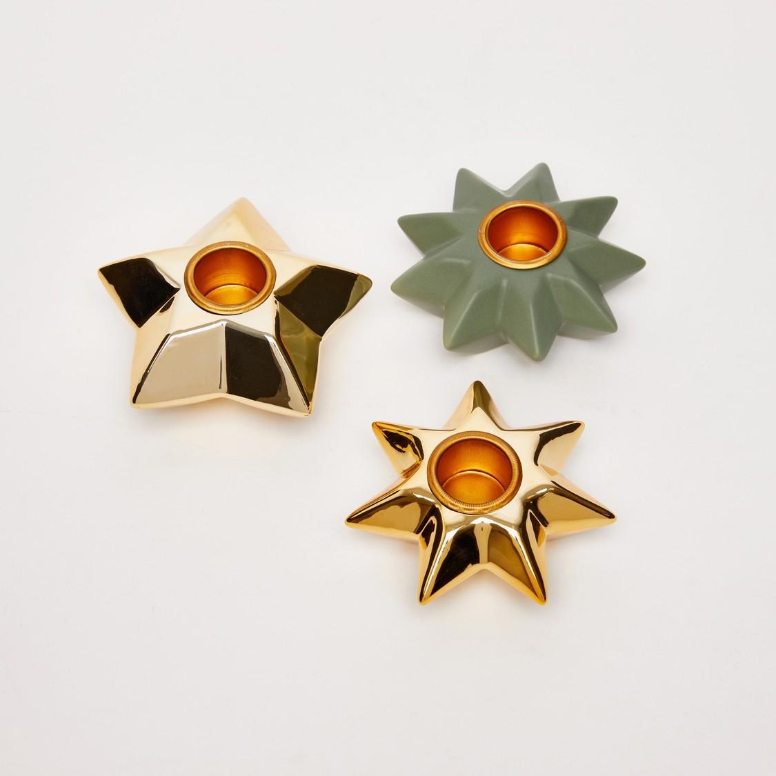 حامل شموع بتصميم نجوم - طقم من 3 قطع