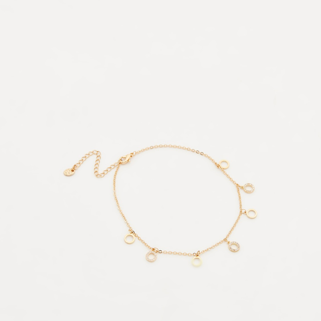 Studded Charm Anklet with Lobster Clasp Closure and Extra Loops