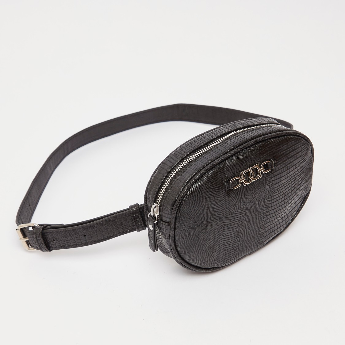 Textured Waist Bag with Metal Accent and Adjustable Strap