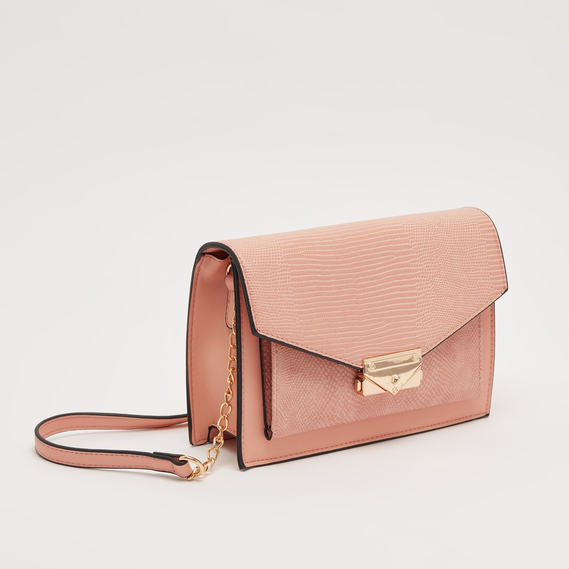 Textured Crossbody Bag with Adjustable Strap