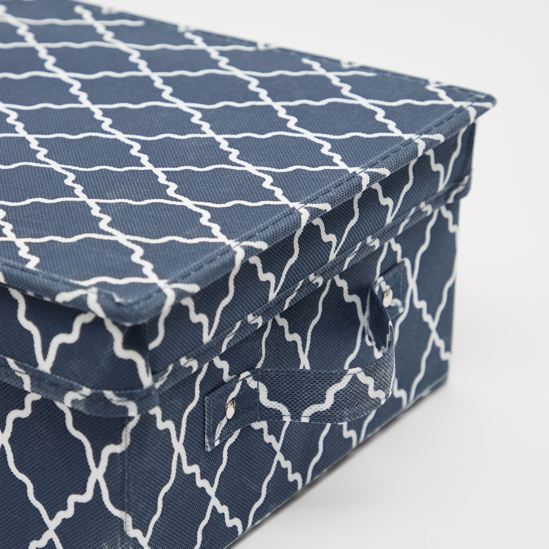 Printed Storage Box with Handle and Lid - 28x33x15 cms