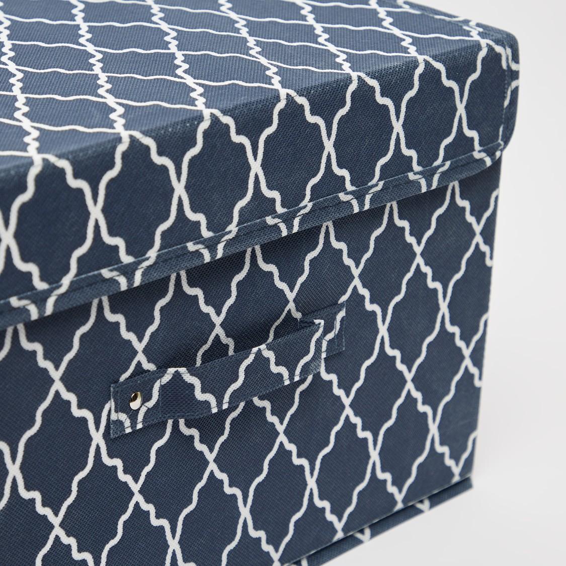 Printed Rectangular Storage Box with Handle - 38x25x25 cms