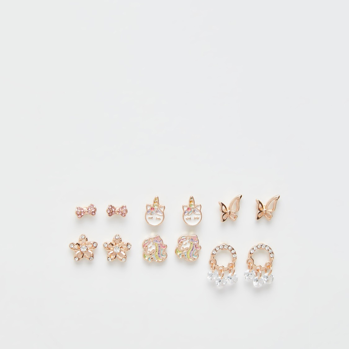 Set of 6 - Studded Earrings with Push Back Closure