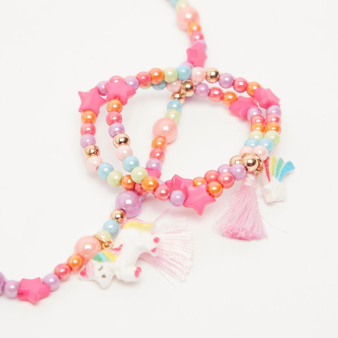 Applique Detail Necklace and Bracelet Set