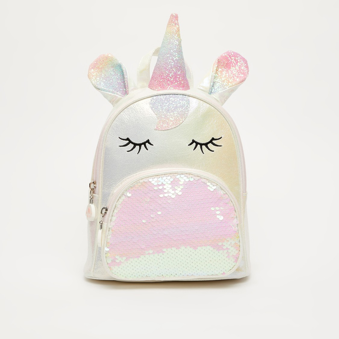Sequin Detail Backpack with Adjustable Strap and Zip Closure