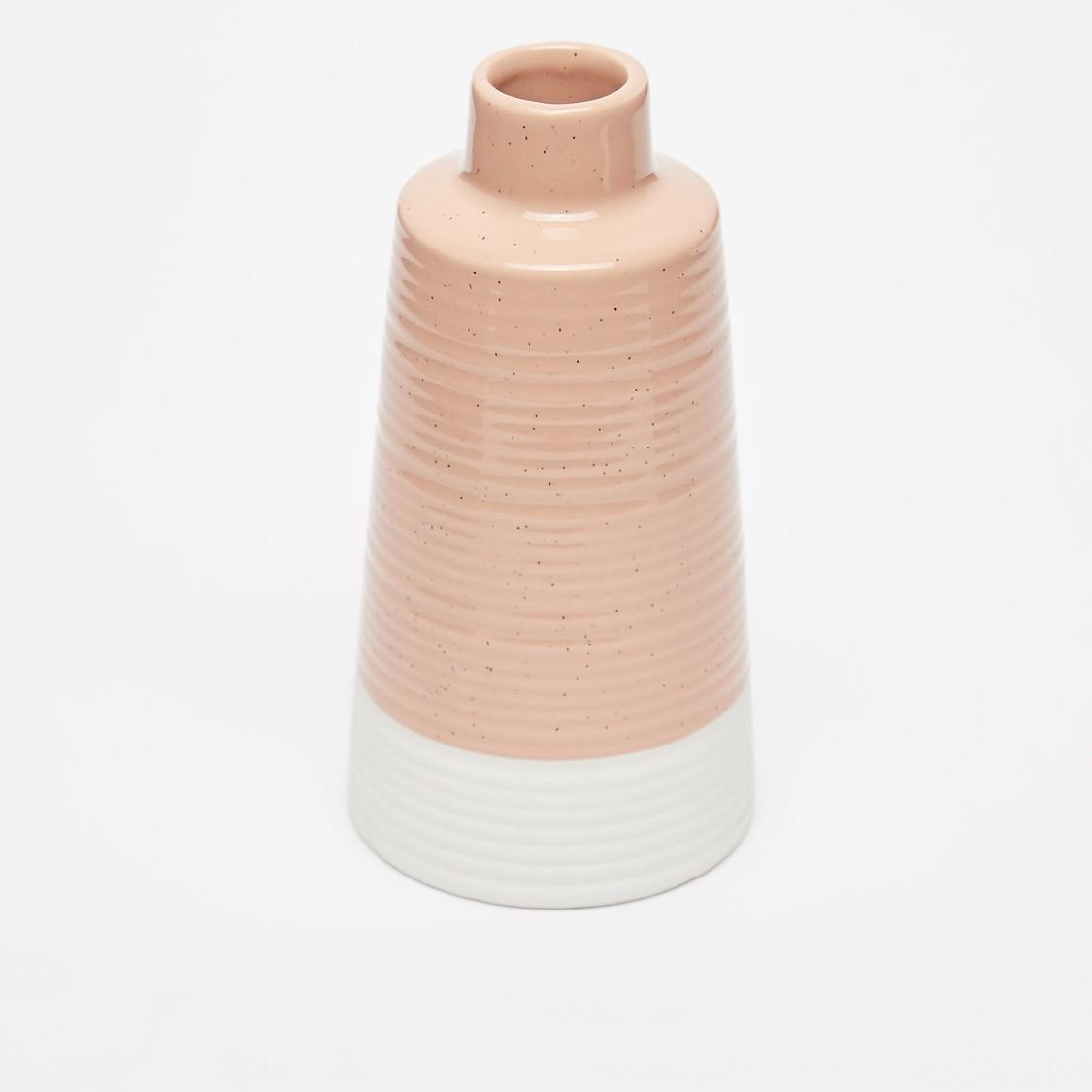 مزهرية سيراميك مزينة بتصميم قوالب ملونة - 18x9 سم