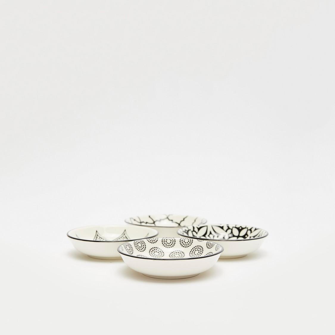 Pattern Print 4-Piece Round Plate Set