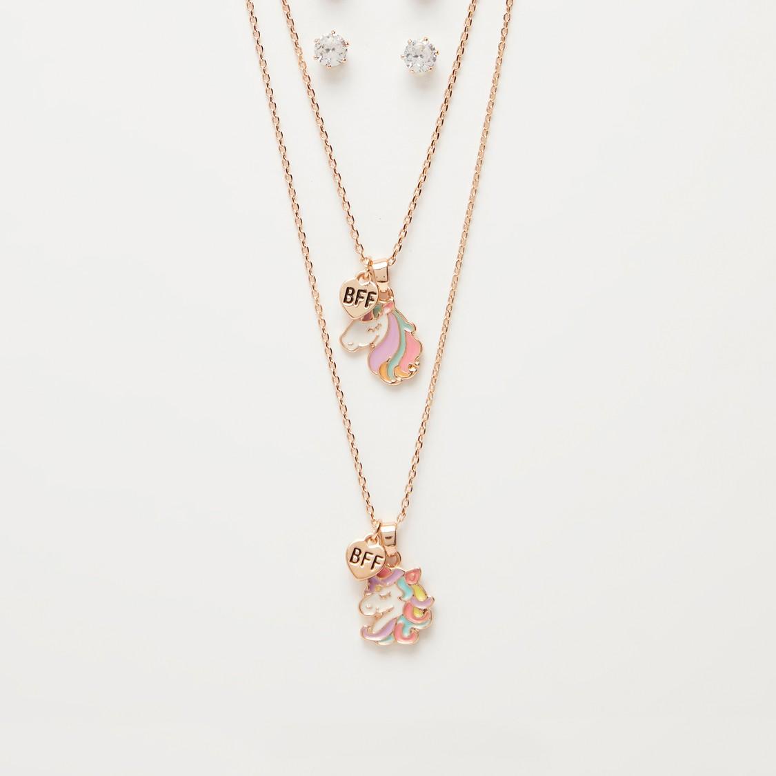 Set of 2 - Unicorn Pendant Necklace and Stud Earrings