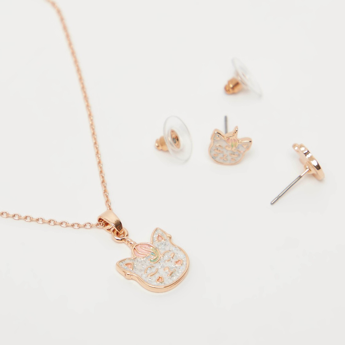 Caticorn Applique Detail Pendant Necklace and Earrings Set