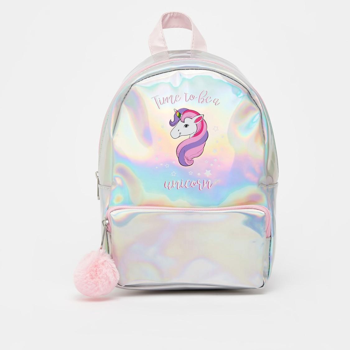 Unicorn Print Backpack with Pom Pom Applique Detail