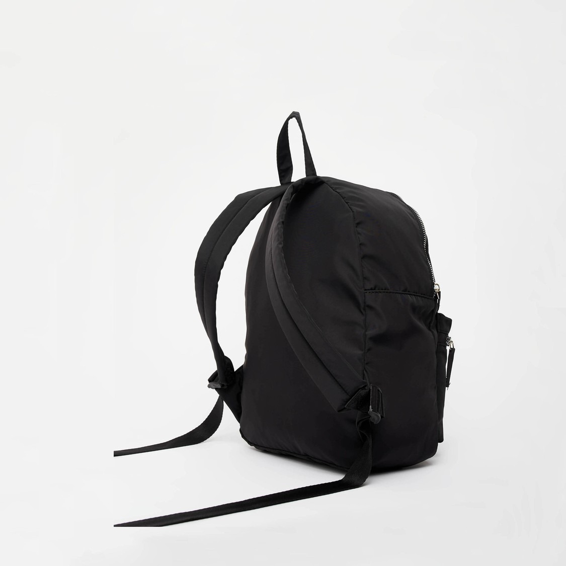 Solid Backpack with Zip Closure and Padded Straps