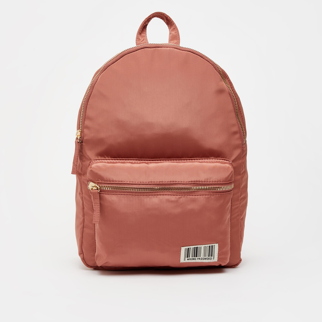 Solid Backpack with Zip Closure and Adjustable Straps