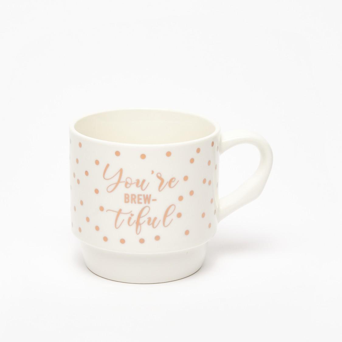 Set of 2 - Slogan Print Mug with Handle
