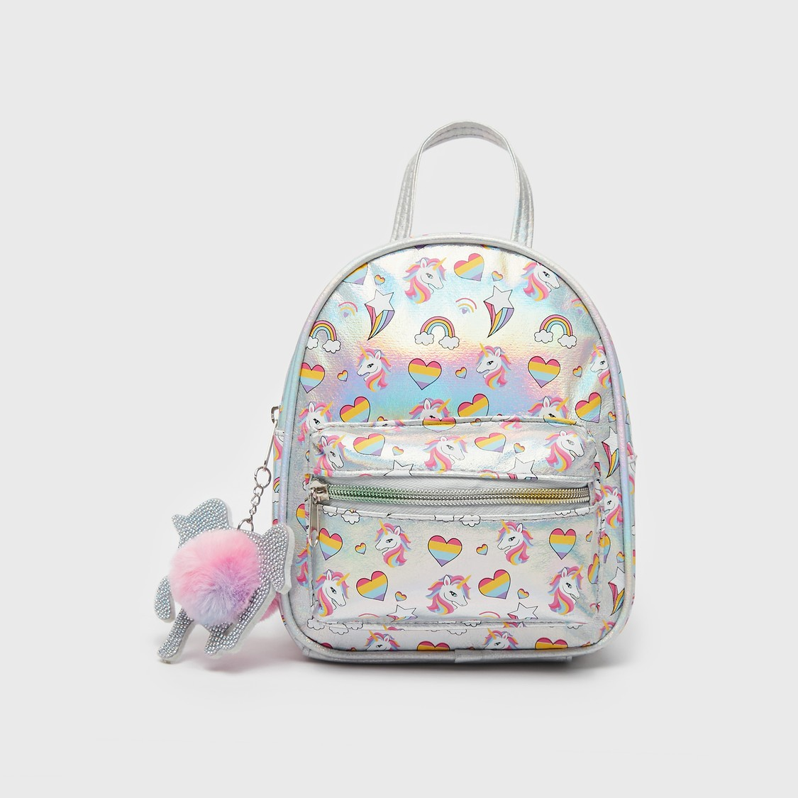 Printed Backpack with Unicorn Charm