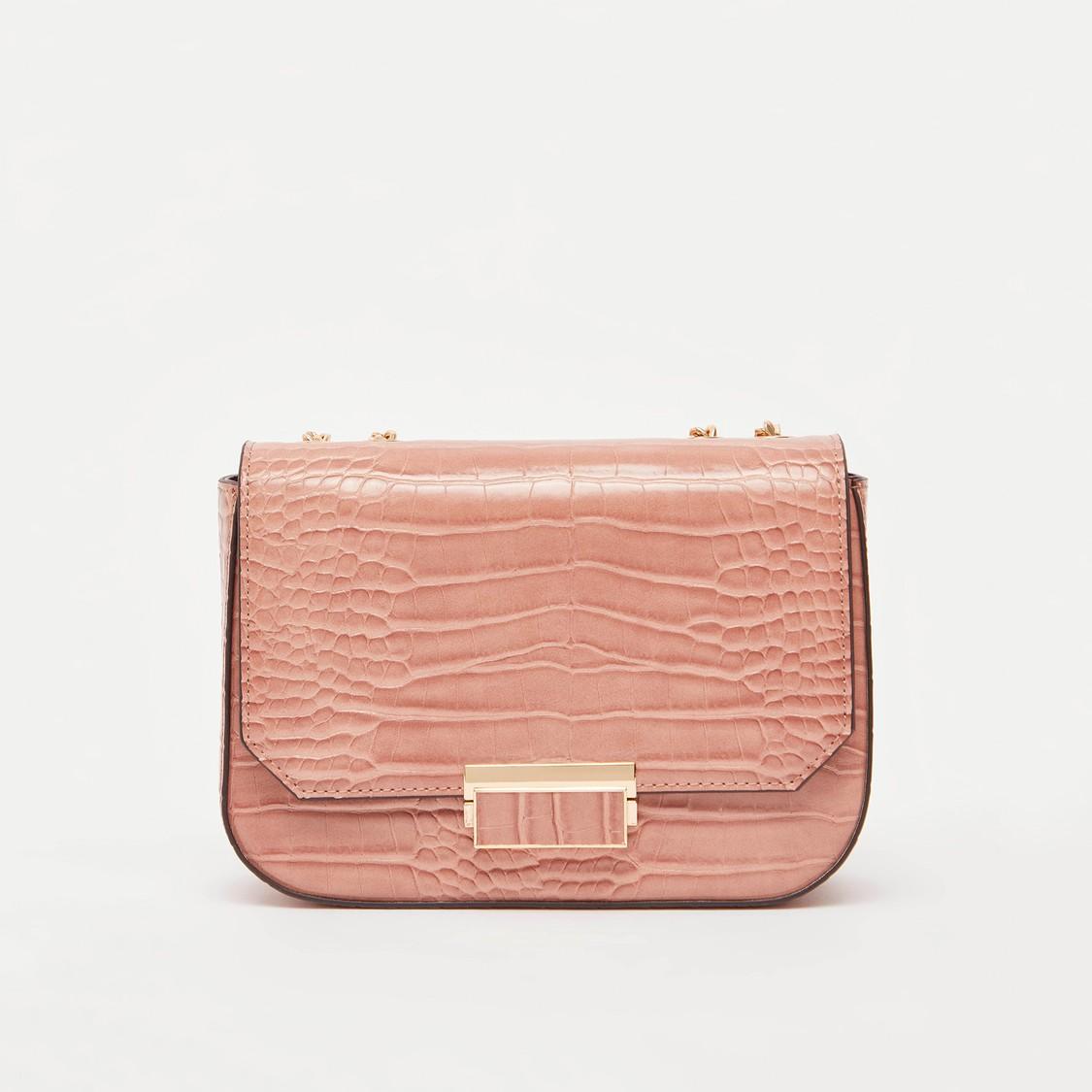 Textured Satchel Bag with Shoulder Chain and Zip Closure