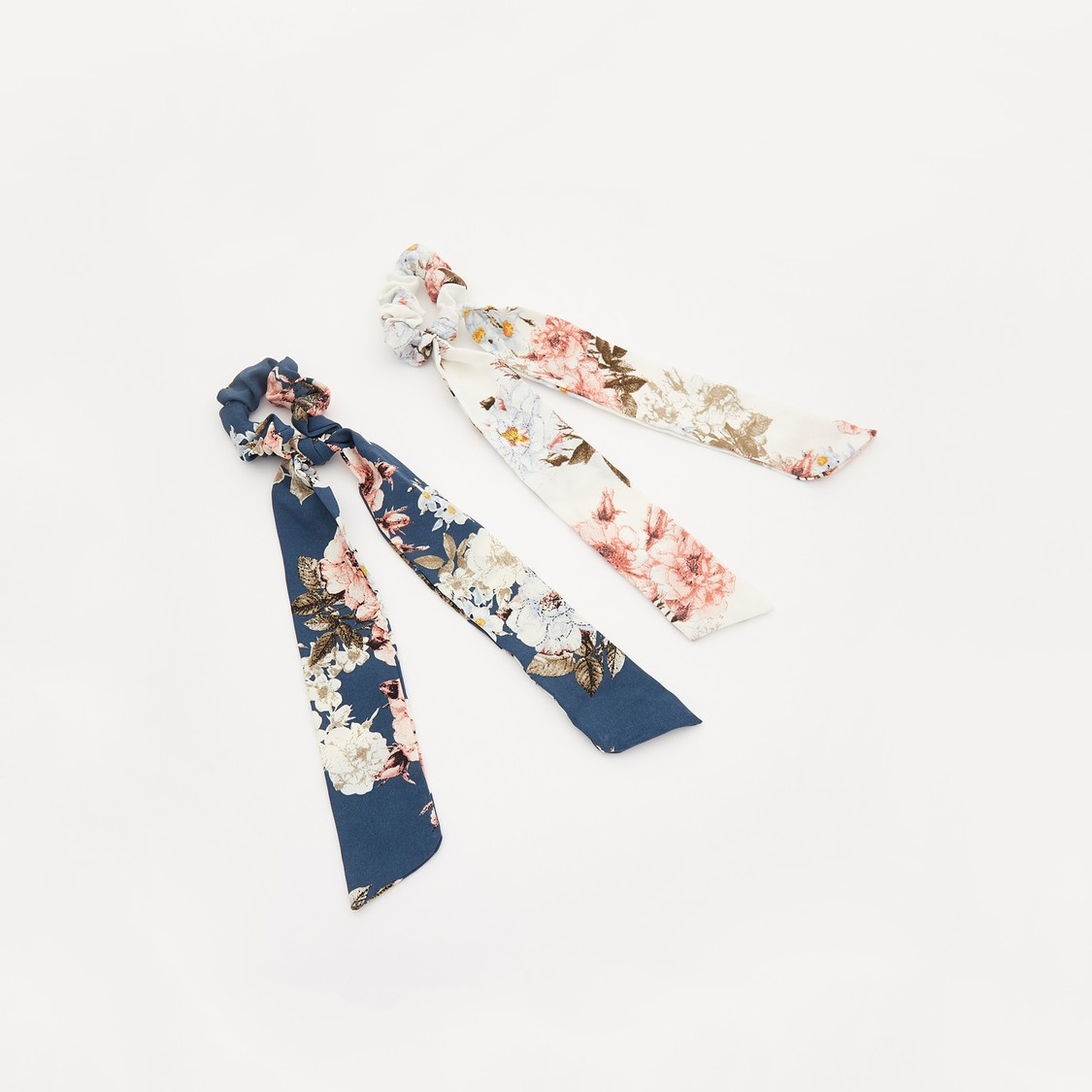 Set of 2 - Floral Print Hair Tie with Applique Detail