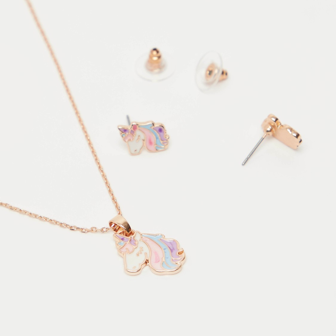 Unicorn Stud Earrings and Necklace with Lobster Clasp Closure