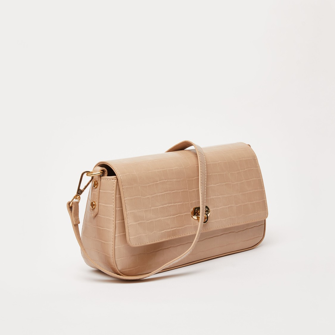 Textured Crossbody Bag with Detachable Strap