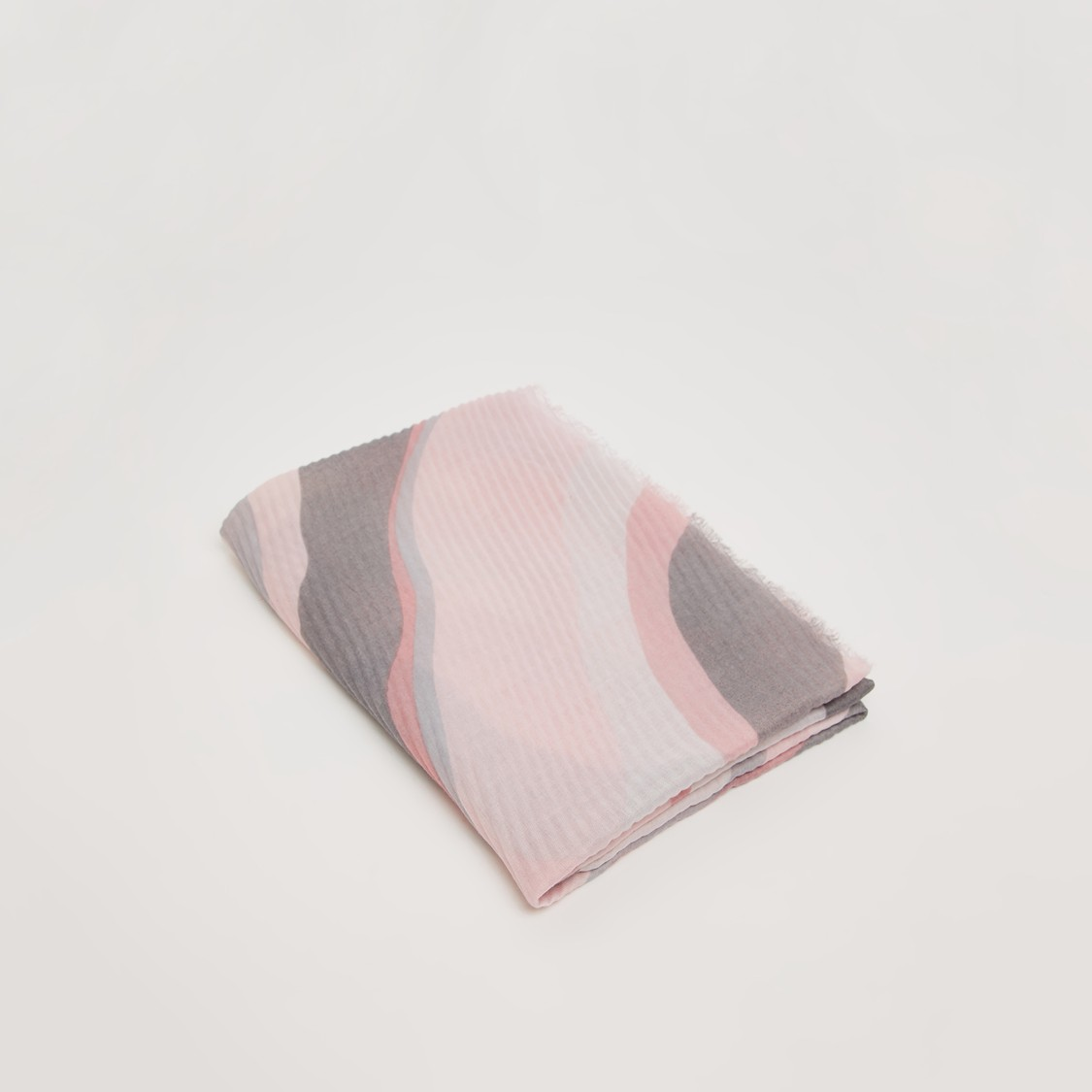 Rectangular Printed Scarf with Frayed Edges