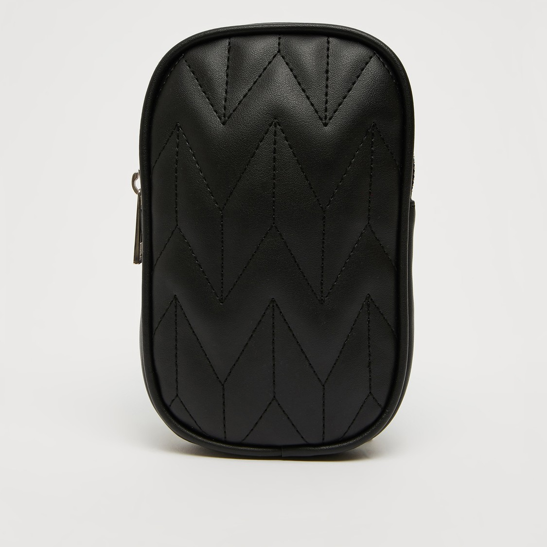 Quilted Crossbody Bag with Metallic Chain and Zip Closure