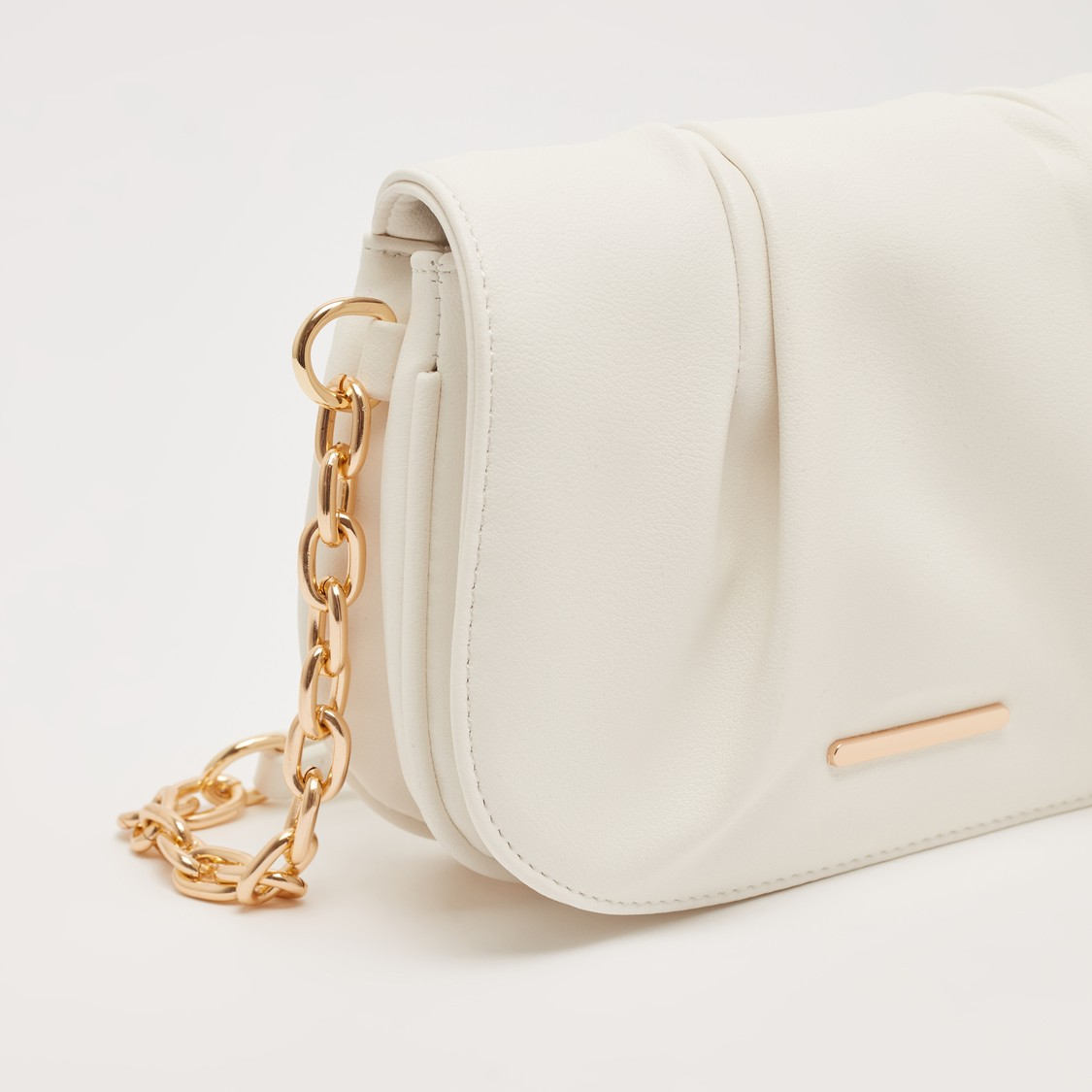 Solid Crossbody Bag with Chain Link Strap