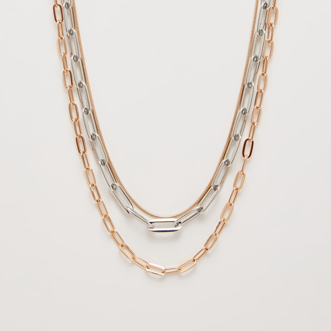 Metallic Multi-Layer Necklace with Lobster Clasp