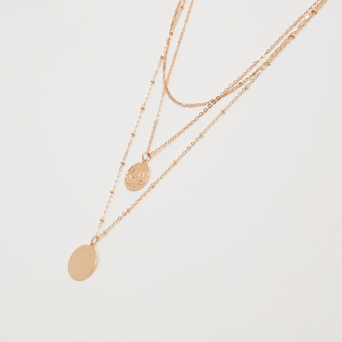 Metallic Pendant Multi-Layer Necklace with Lobster Clasp