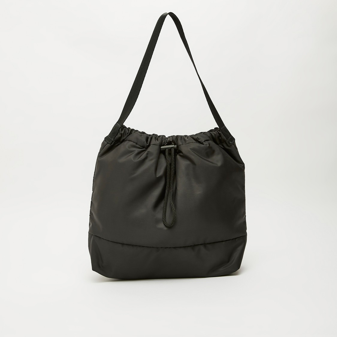 Solid Shoulder Bag with Toggle Closure