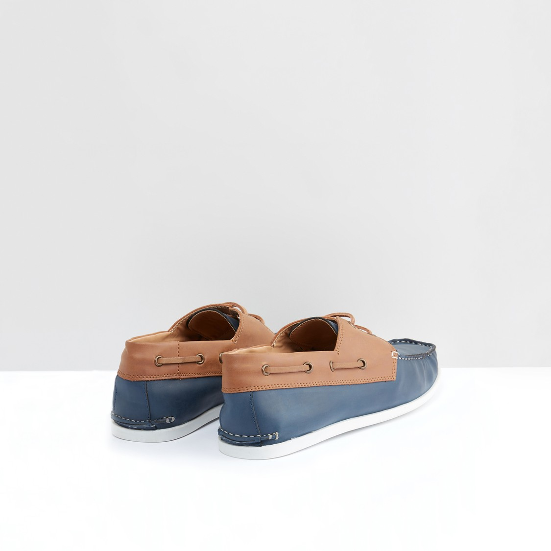 Stitch and Lace Detail Slip-On Shoes