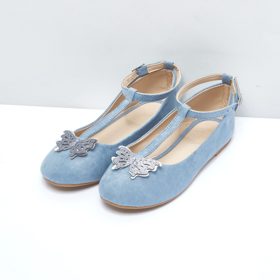 Butterfly Applique Detail Shoes with Pin Buckle Closure