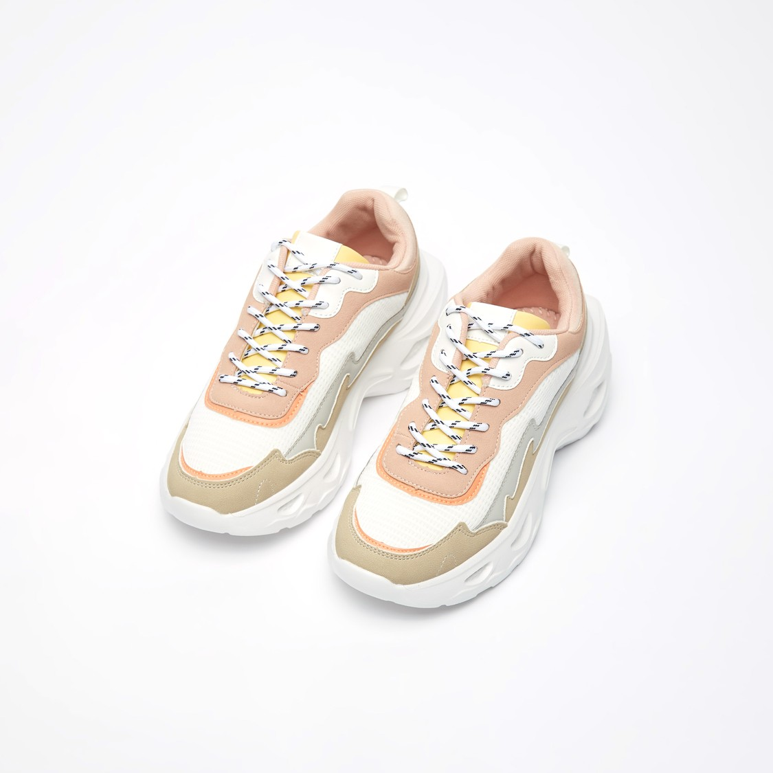 Chunky Textured Lace-Up Sneakers