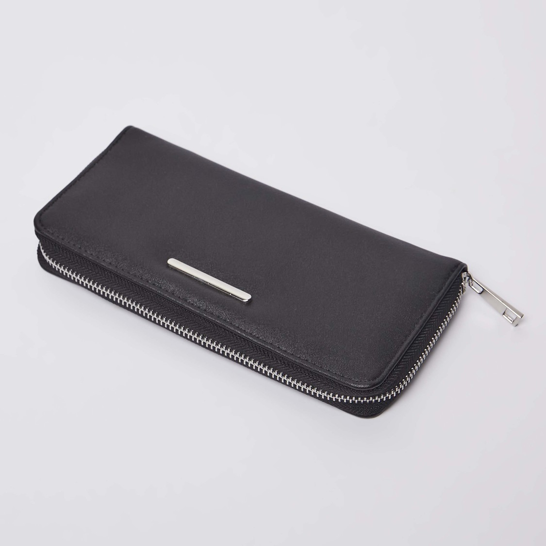 Textured Wallet with Zip Closure