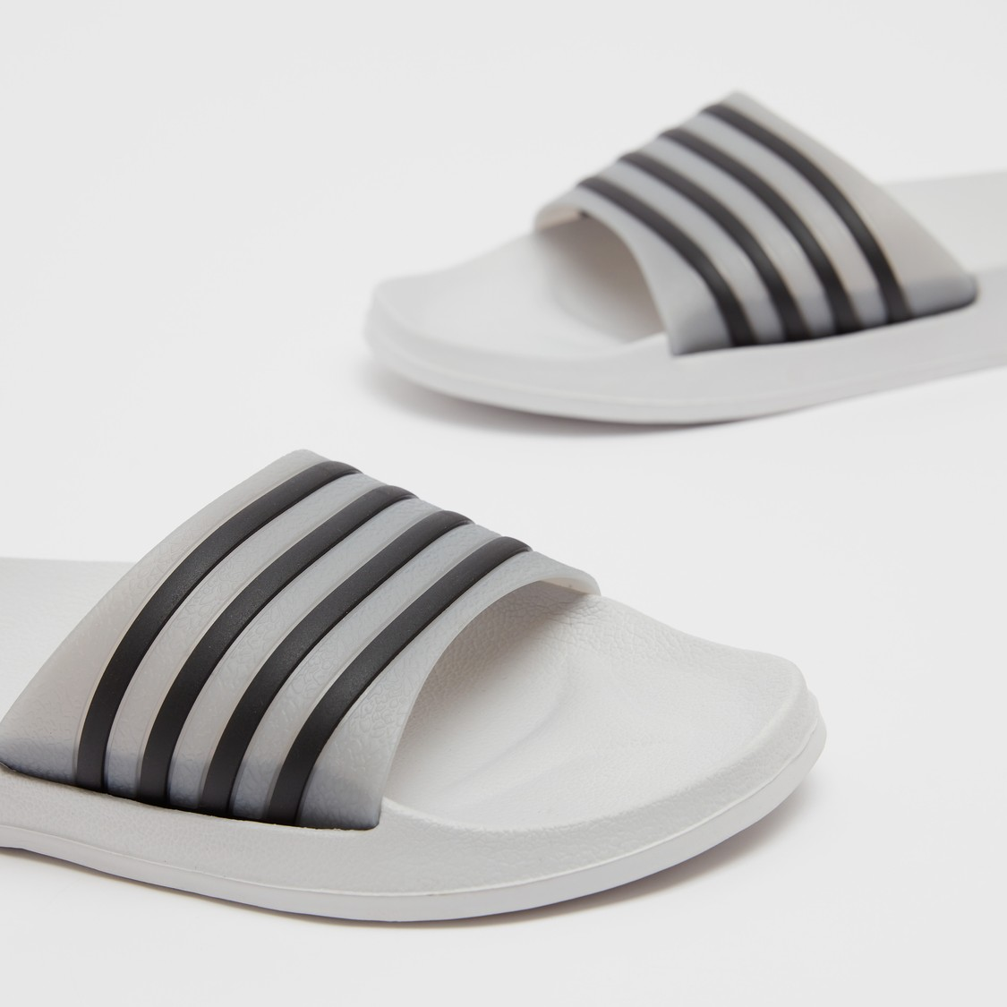 Striped Strap Slip On Slides