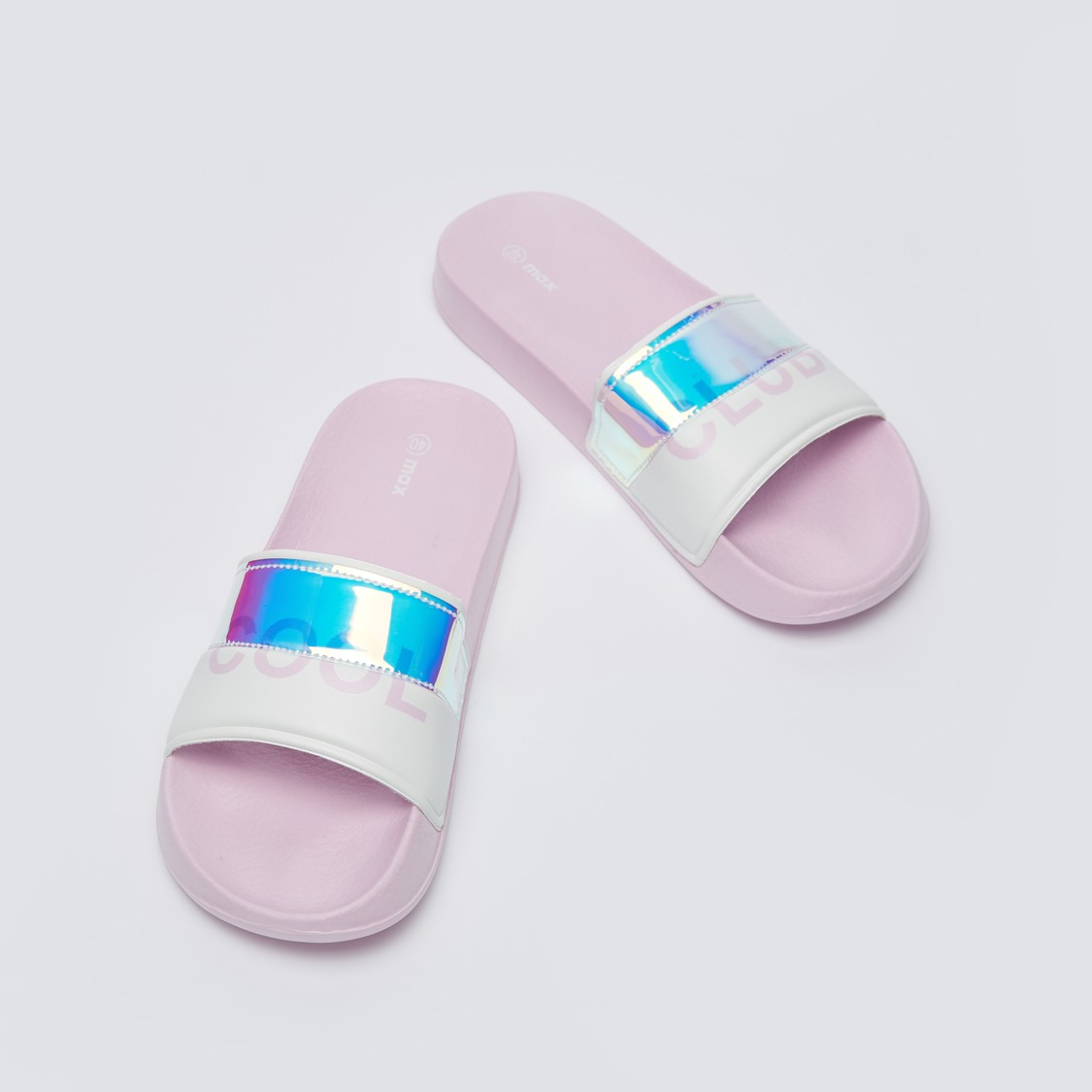 Printed Slide Slippers with Holographic Panel