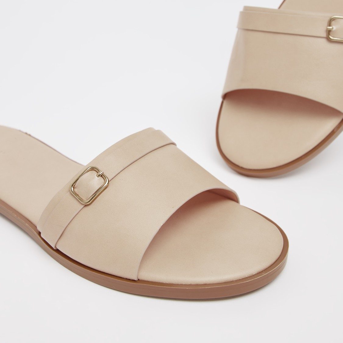 Women's Solid Slip-On Flat Sandals with Buckle Accent