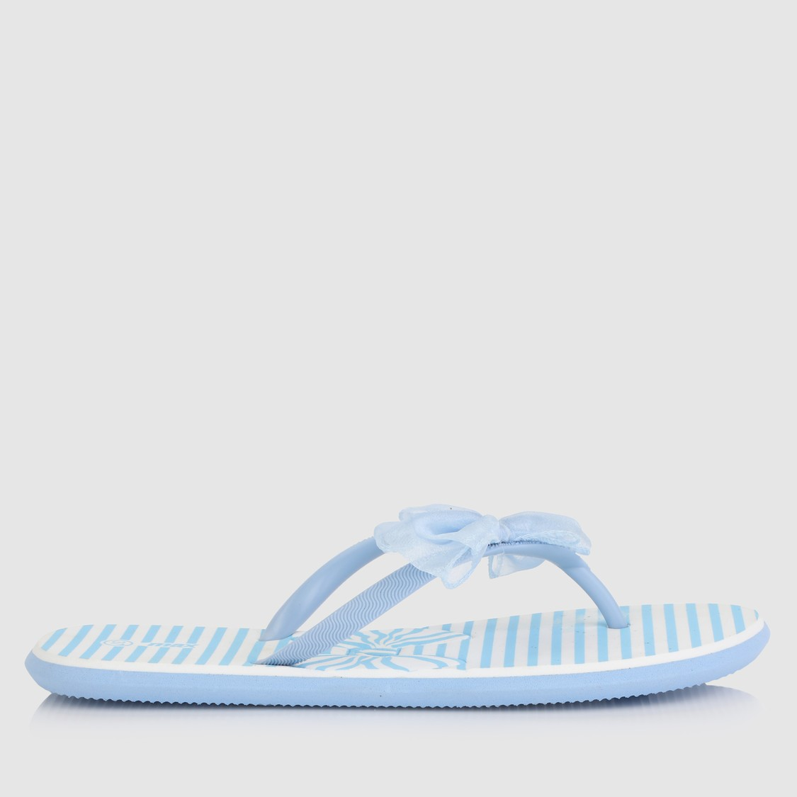 Striped Thong Slippers with Bow Applique