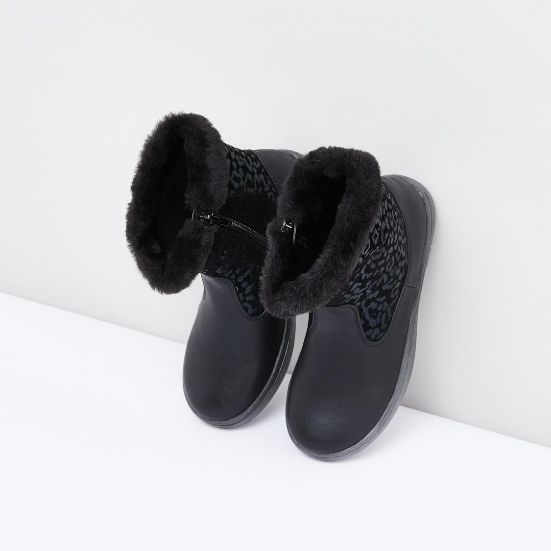 Textured Boots with Zip Closure