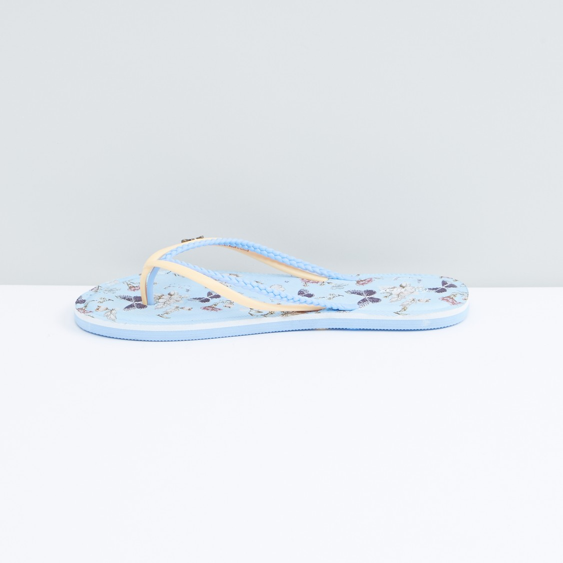 Printed Flip Flops with Butterfly Applique and Textured Straps