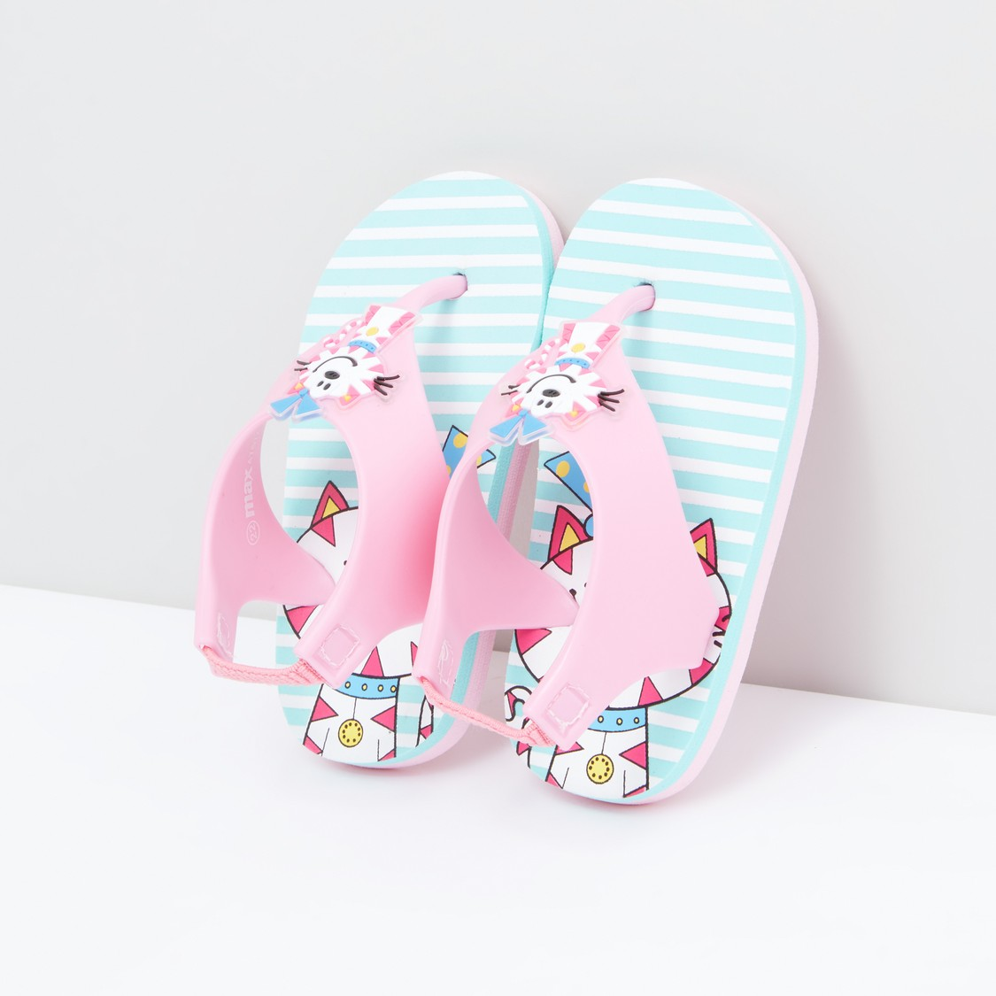 Printed Flip Flops with Back Strap and Applique Detail