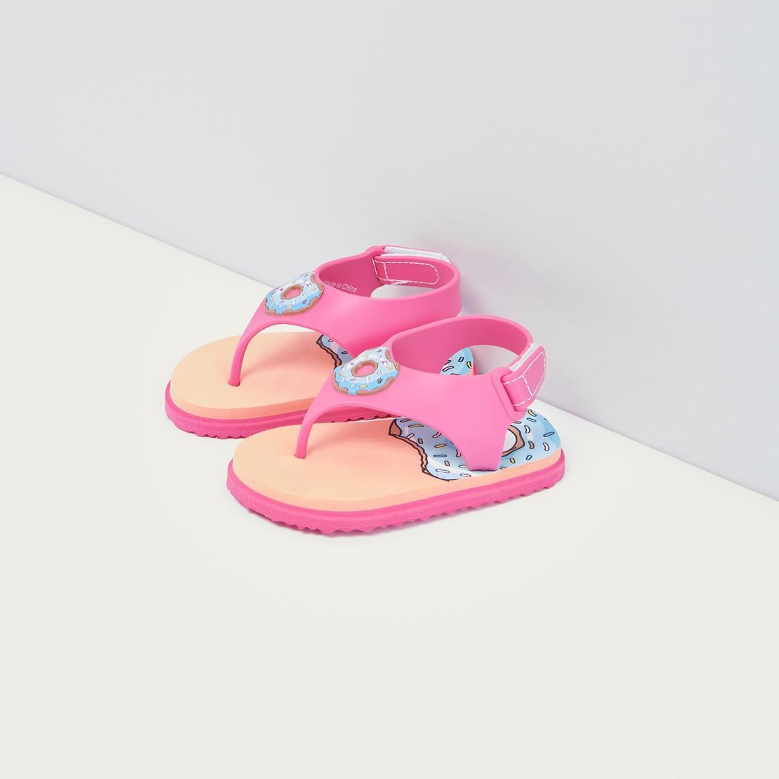 Printed Flip Flops with Hook and Loop Closure