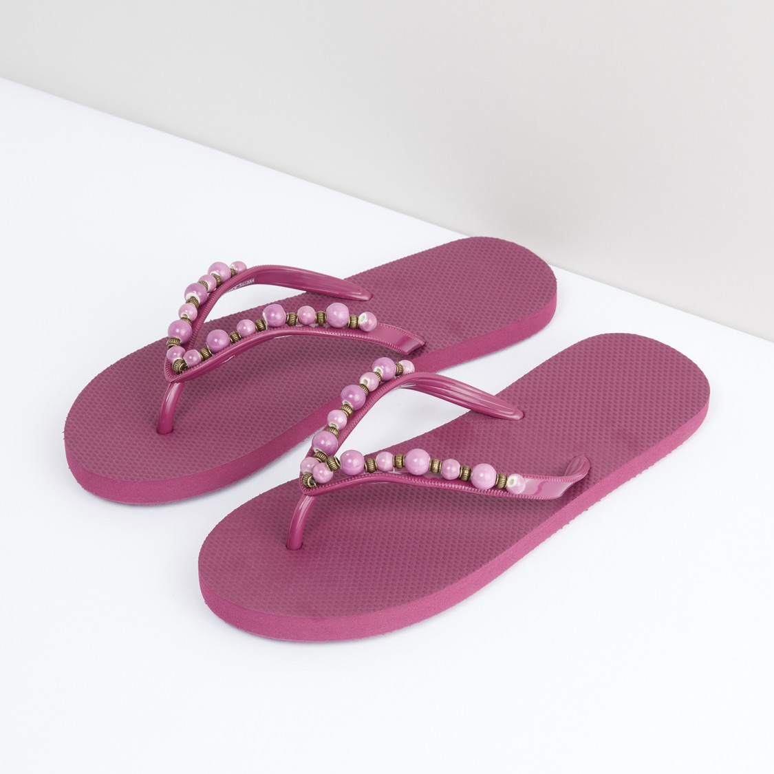 Textured Flip Flops with Beaded Straps