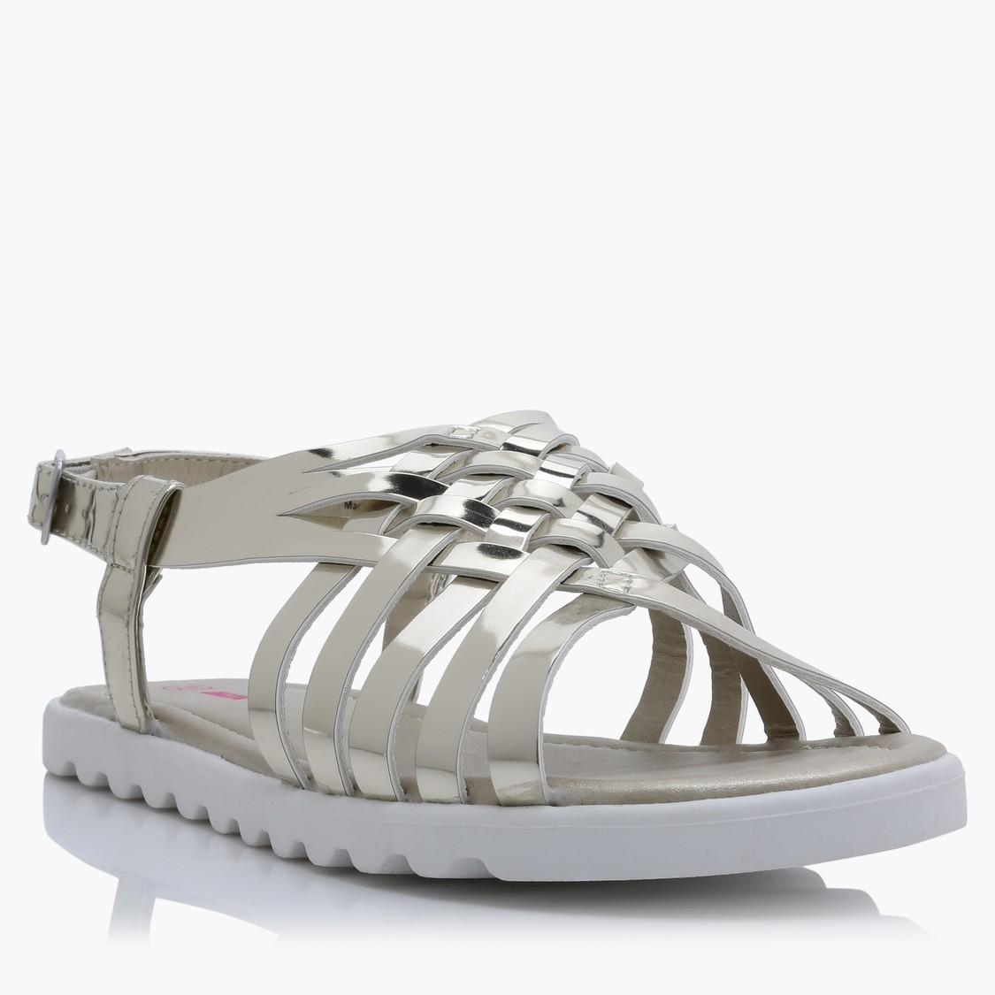 Metallic Sandals with Buckle Closure